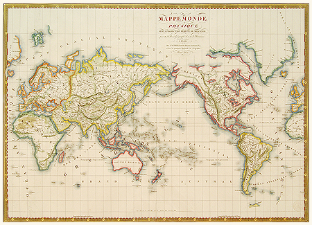 Brue Map Of The World 1820