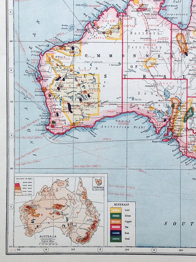 Oceania Industrial Map Harmsworth 1922