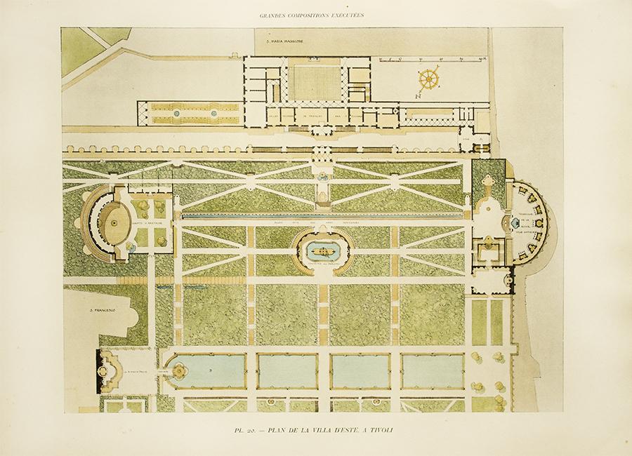 Garden plan of the villa d 39 este in tivoli gromort c 1900 for Garden design 1900