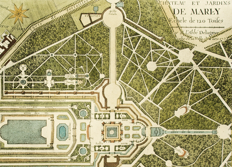 Garden Plan The Chateau De Marly Gromort C 1900