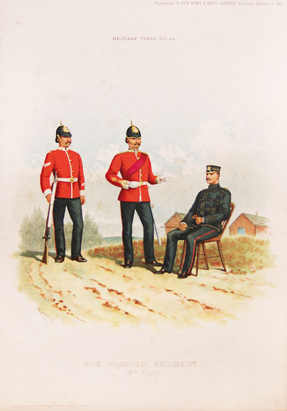 Military Types The Norfolk Regiment 9th Foot C1890