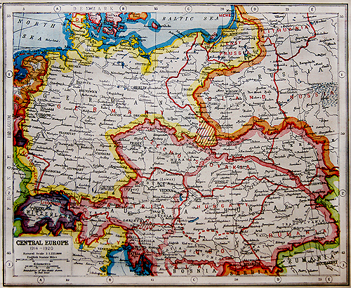 Map Of Europe 1922.Central Europe World War One 1922