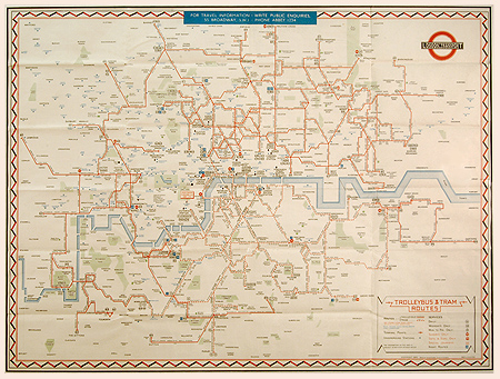 London Trolleybus And Tram Routes 1946