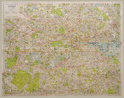 Map Of London And Surrounding Suburbs.Bacon S Ruby Map Of London And Suburbs 1947