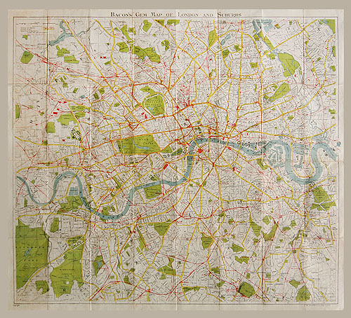 Bacon's Gem Map of London and Suburbs, c.1930 on print map of kentucky, print map of chicago area, print map of ontario canada, print map of doha, print map of colonial williamsburg, print map of europe, print map of holy land, print map of the bronx, print map of world,